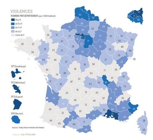 Le Figaro livre une radiographie saisissante des violences et des cambriolages, département par département, en 2016, ainsi qu'une carte interactive des lieux où se produisent les infractions principales dans la capitale et sa banlieue.