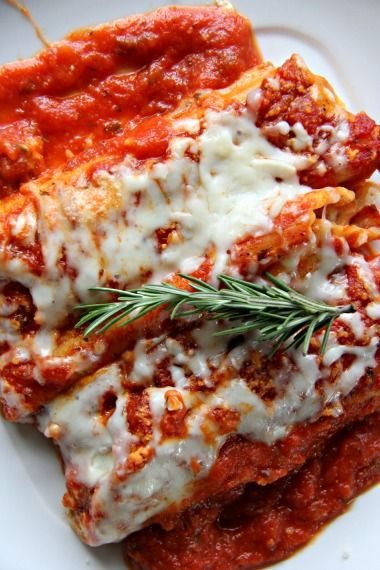 manicotti with Italian sausage, beef and a cream cheese sauce
