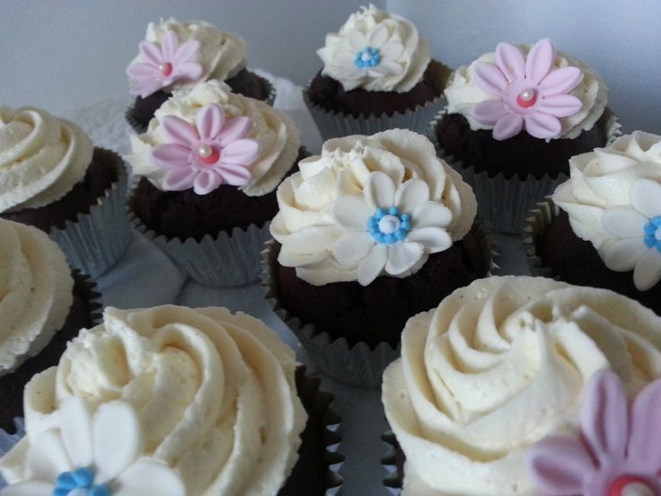 Blue Pink and Cream Chocolate Cupcakes