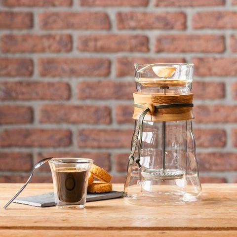 Cafetière à piston 400ml en verre double parois et bois d'olivier  - DGC-40-OV