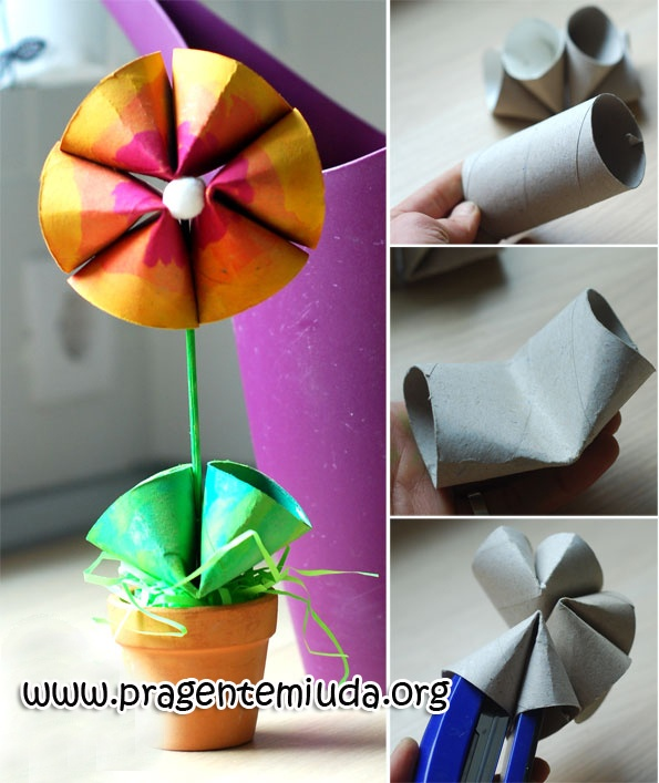 Flores feitas com rolo de papel higiênico - Pra Gente Miúda