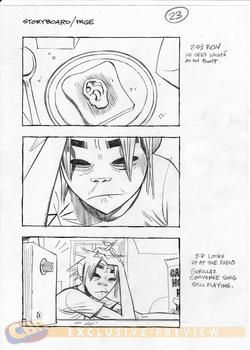 """Gorillaz storyboard for the music video """"Do ya thang"""". It was actually made just to promote a shoe brand which you only see at the very end when Murdoc hits 2-D over the head with said shoe"""