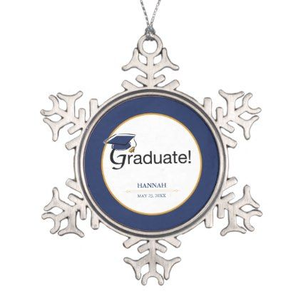 Congratulations Graduate Hat Tassel Blue Gold Snowflake Pewter Christmas Ornament - unusual diy cyo customize special gift