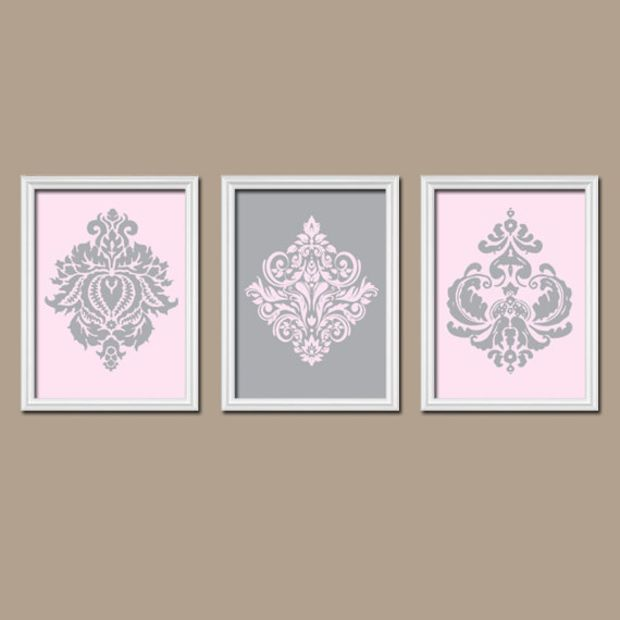 Pink Gray Damask Wall Art Canvas Nursery Girl Artwork Ornamental Design  Set of 3 Trio Prints  Decor Bedroom Bathroom Bedroom Three