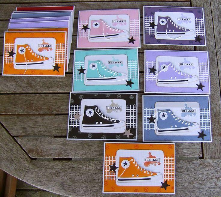 Jeg har lavet sko i lange baner :)               Jeg har også lavet nogle maskuline kort for et stykke tid siden, som jeg vist ikke har vi...