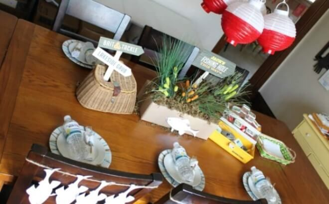 A fabulous Boy Bash on a Budget Challenge feature - a Vintage Fishing Birthday Party tablescape from Jenny of Crossing the Bugger-Dixon Line.