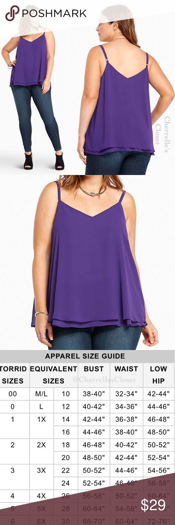 Torrid Double Layered Chiffon Cami Plus Size 5X This deep purple cami is working double time with a sexy v-cut front and back. Cut with two floaty, semi-sheer, and swingy chiffon layers, this cami is a dressy upgrade from your everyday tanks. Polyester torrid Tops