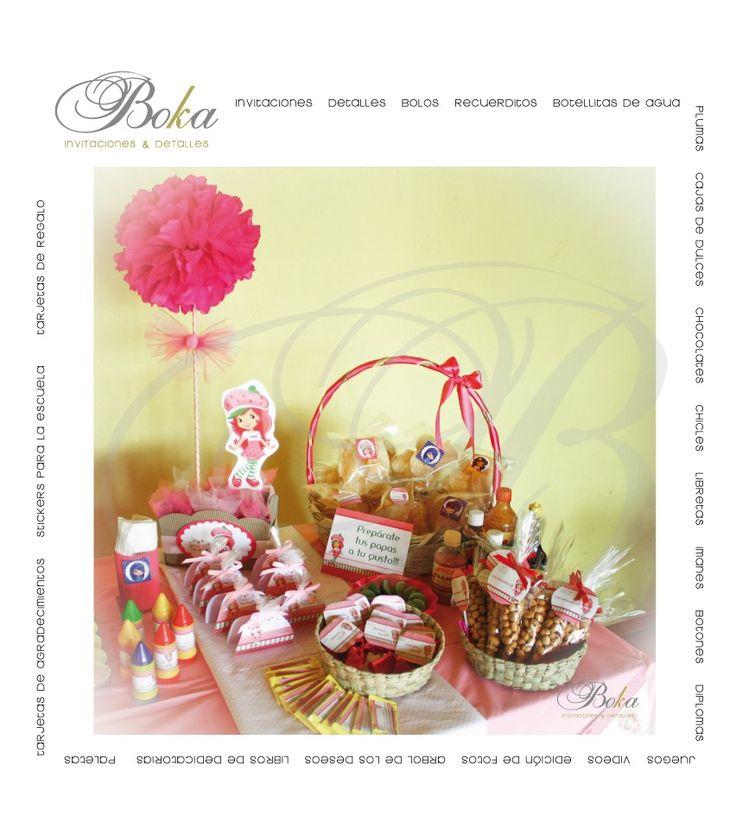 candy bar party, mesa de dulces, fiesta infantil, dulces personalizados, rosita fresita, detalles originales, party, www.bo-kasociales.com