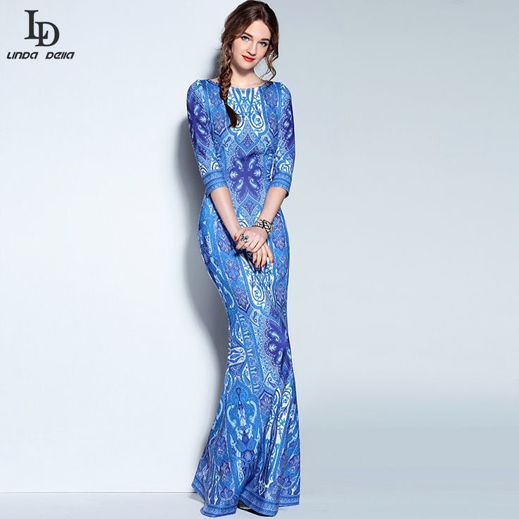 High Quality New Designer Formal Dress Women's 3/4 Sleeve Blue and white Porcelain Print Maxi Long Party Dress Bodycon