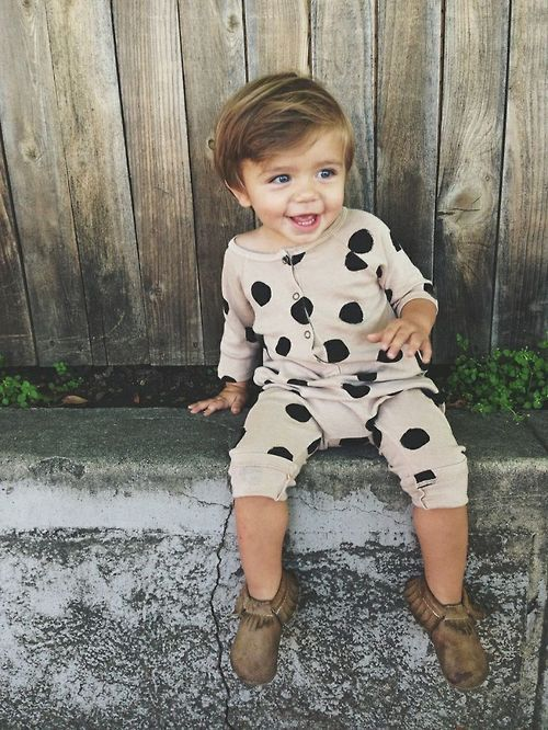 Bobo Choses Jumpsuit with dots... also available at babyssimo. So lovely!