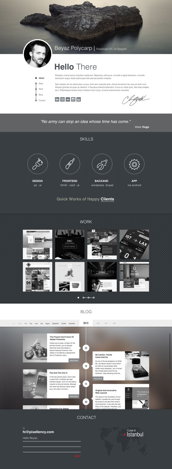 Polifoli | Free Psd PORTFOLIO TEMPLATE by Beyaz Polycarp, via Behance
