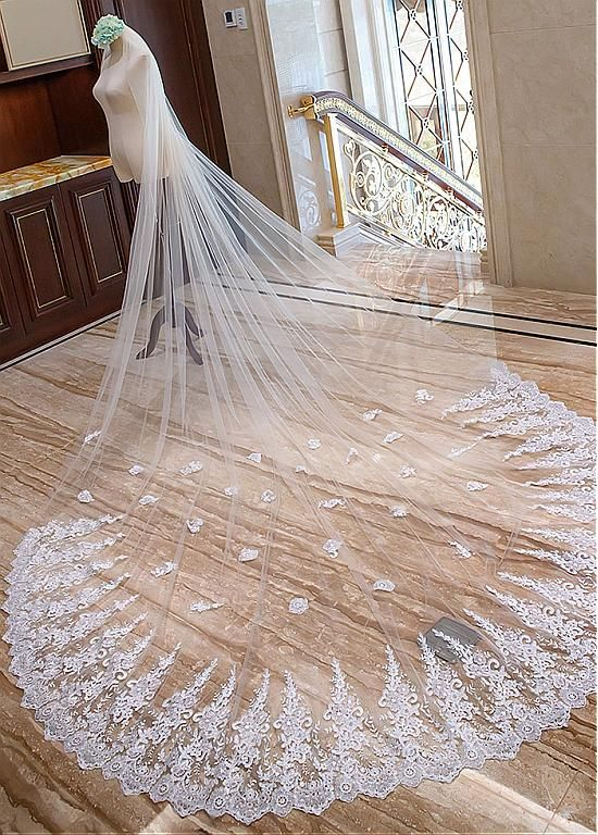 ae6d157aeb In Stock Elegant Tulle Cathedral Wedding Veil With Lace Appliques in ...