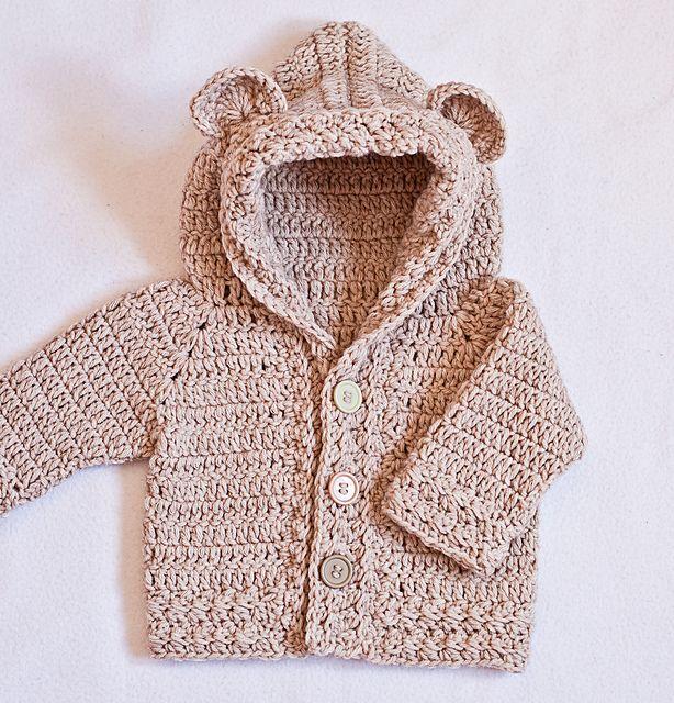 Bear hooded cardigan #crochet pattern for sale from Mon Petit Violon