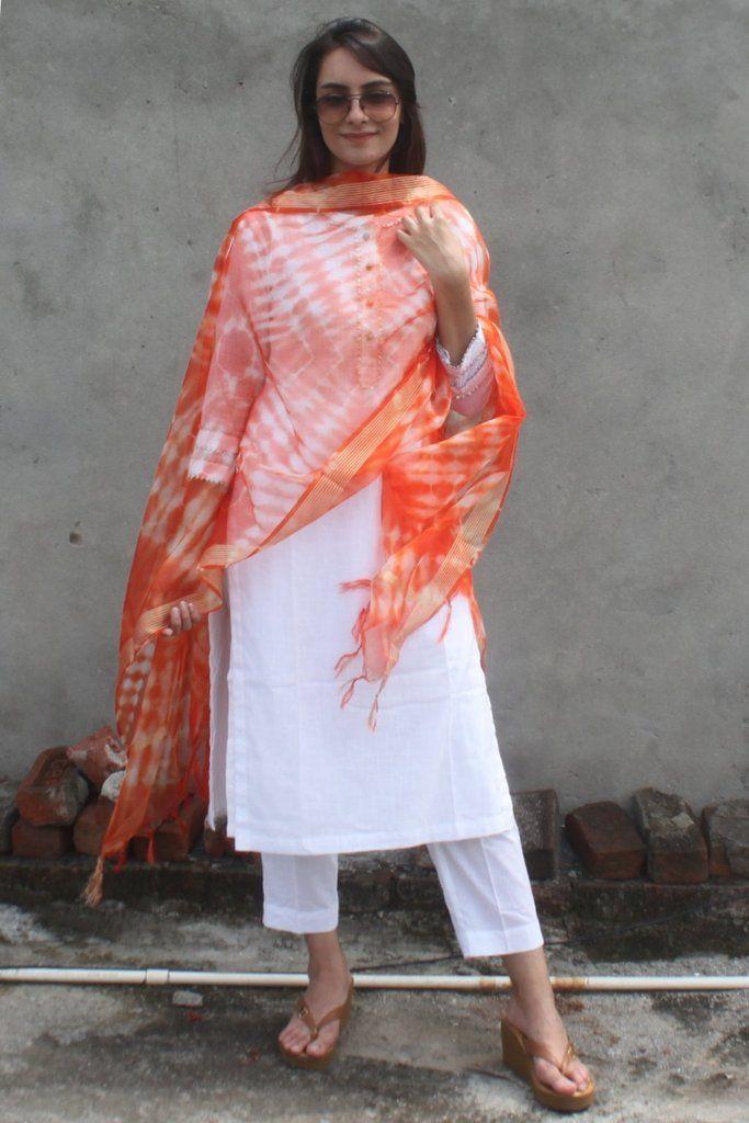 851c09104b White Gota Kurti with Pants and Orange Tie & Dye Organza Dupatta in ...