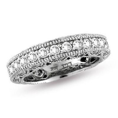 3/4 CT. T.W. Diamond Eternity Anniversary Vintage-Style Band in 14K White Gold - Zales: Vintage Styl Bands, Diamonds Anniversaries Bands, Eternity Anniversaries, Anniversary Bands, Vintage Diamonds, Anniversaries Vintage Styl, Diamonds Eternity Bands, White Gold, Vintage Anniversaries Rings
