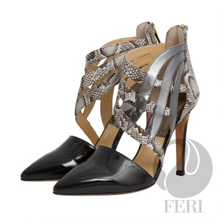 FERI - Roxanne - Shoes - Black Patent Silver and Snake Print  Price                                  $1,000 Canadian Dollars Product #                           FSH-5857 Product Category              FERI Shoes - Patent napa leather pump with stiletto heel - Napa leather sole and insole - Colour: Black with snake skin printed accent and gun metal accent - FERI logo hardware on sole and zipper pull - Heel height: 4.5 inches  Invest with confidence in FERI Designer Lines.