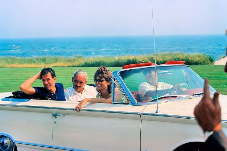 July 28, 1963: With Charles Spaulding, Stas Radziwill and JFK, at Hyannisport. Patrick will be born prematurely ten days later.