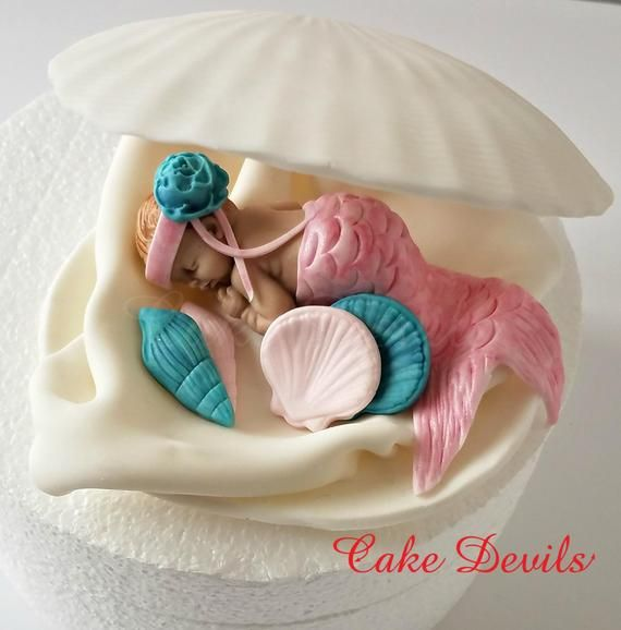 Mermaid In A Clam Shell Baby Shower Cake Topper Fondant Clam Shell Cake Decoration Sleeping Baby Mermaid Baby Shower Cake Clamshell Shower Cakes Baby Shower Cakes Baby Shower Cake Topper