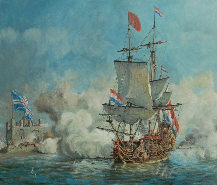 Dutch warship bombarding a British fort, Anglo-Dutch War