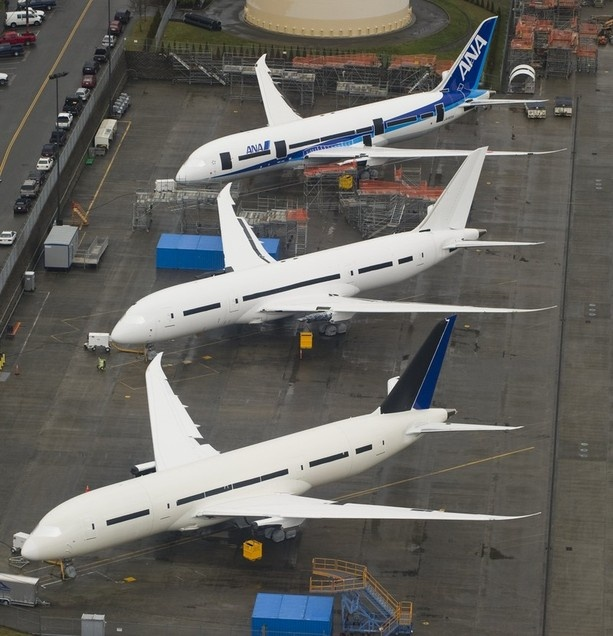In-production Boeing 787 Dreamliner aircraft for ANA and other airlines sit on the tarmac at the Boeing production facilities and factory at Paine Field in Everett, Washington, February 17, 2012.