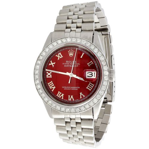 Mens Rolex 36mm DateJust Diamond Jubilee Watch Roman Numeral Red Dial 1.90 CT.