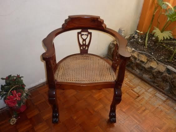 Antique Barbados Mahogany Tub Chairs With Caned Bottom