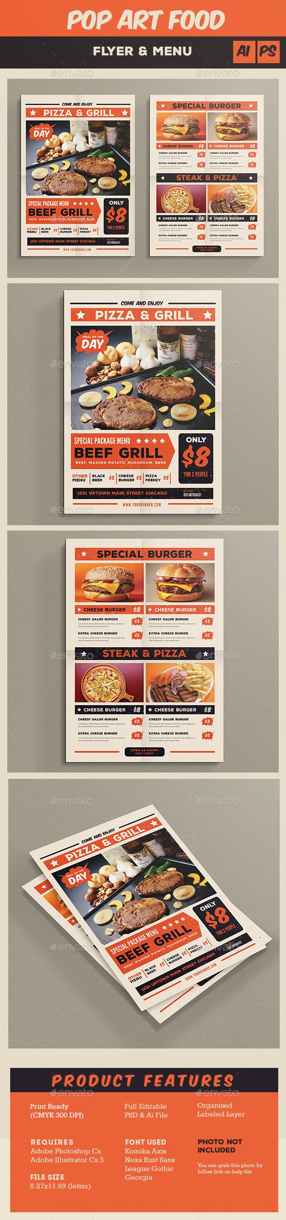 Pop Art Food  Menu Flyer Template PSD, Vector AI #design Download: http://graphicriver.net/item/pop-art-food-flyer-menu/13951700?ref=ksioks