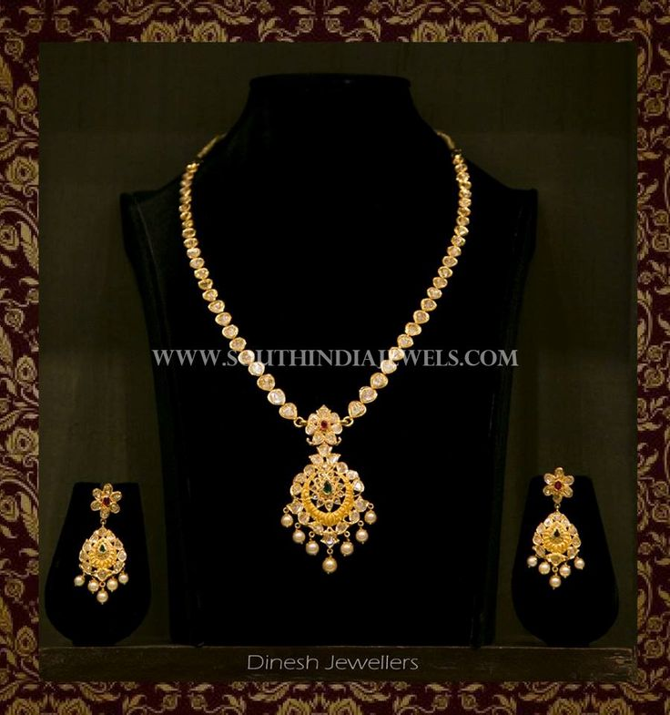 22k gold simple short necklace with matching earrings. For inquiries please contact the seller below. Seller Name : Dinesh Jewellers Facebook : https://www.facebook.com/DineshJewellery/ Contact : 040-23266666/7 Related PostsGold Multilayer Short Necklace From CMR JewelsGold Short Necklace With Stone PendantOne Gram Gold Ruby Short NecklaceGold Antique Temple Necklace From BhimaAntique Lakshmi Necklace SetLight Weight Short Gold …