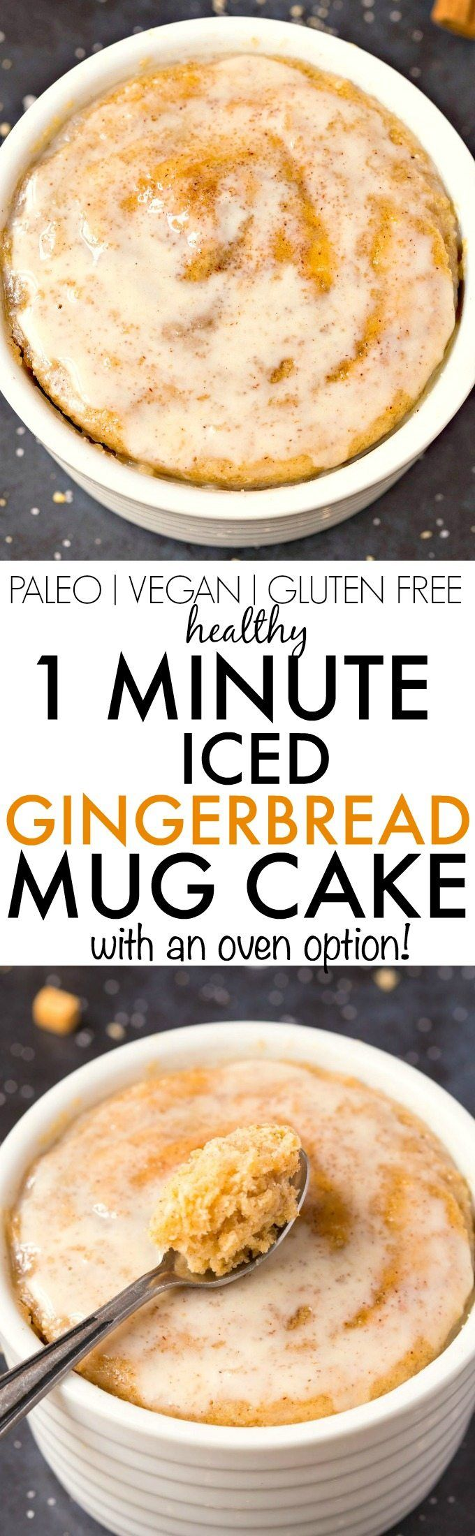 Healthy ONE MINUTE Iced Gingerbread Mug Cake- Quick, Easy, Delicious and with an oven option too, (perfect for Christmas and holidays!) it's light, fluffy and tender- Made with NO butter, it's oil free, sugar free and low calorie! {vegan, gluten free, paleo recipe}- thebigmansworld.com
