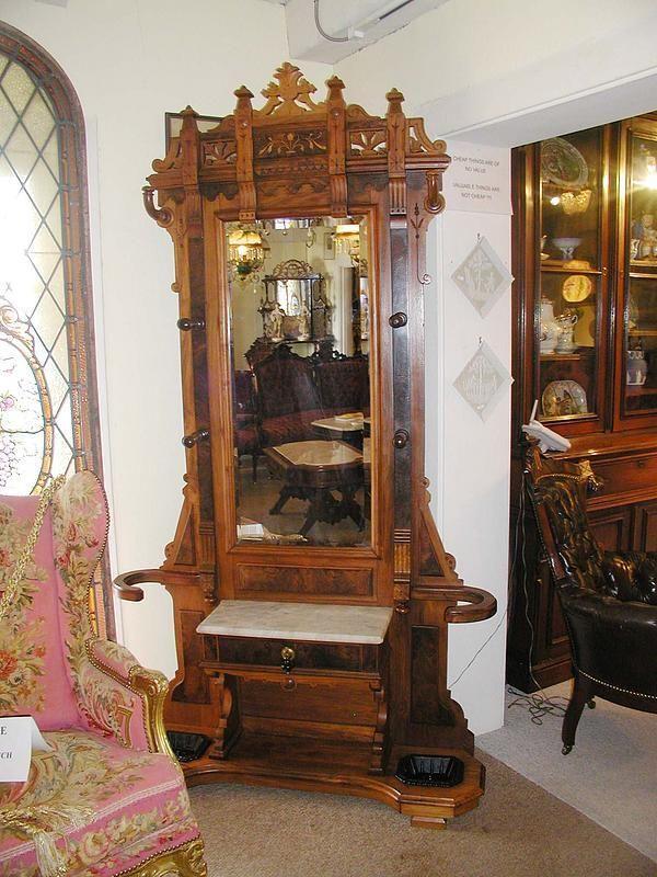 American Victorian Walnut  Burl Hall Tree  Furniture