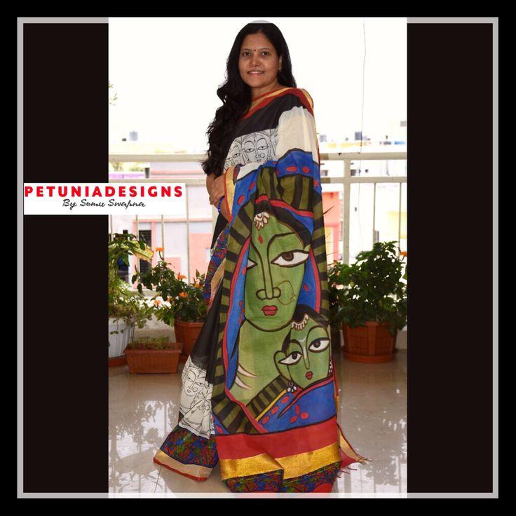 Hand painted Kerala cotton saree #sarees  #designinspiration #cotton #sari #painting #art #artistic
