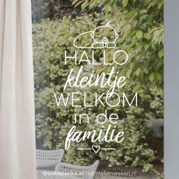 Baby hallo #raamtekening ontwerp door Raamtekening.nl, gratis sjabloon te downloaden op Raamtekenweken.nl (t/m 22.12.17)