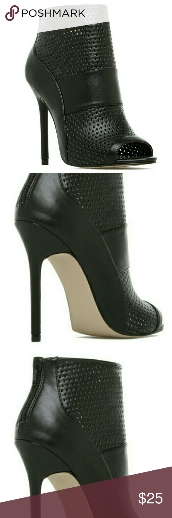 New open toe black booties Amelia Izabella Rue perforated open toe booties Shoe Dazzle Shoes Ankle Boots & Booties