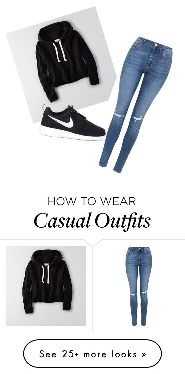 """""""Casual, comfy but still cute"""" by ghimireghimire on Polyvore featuring American Eagle Outfitters, Topshop and NIKE"""
