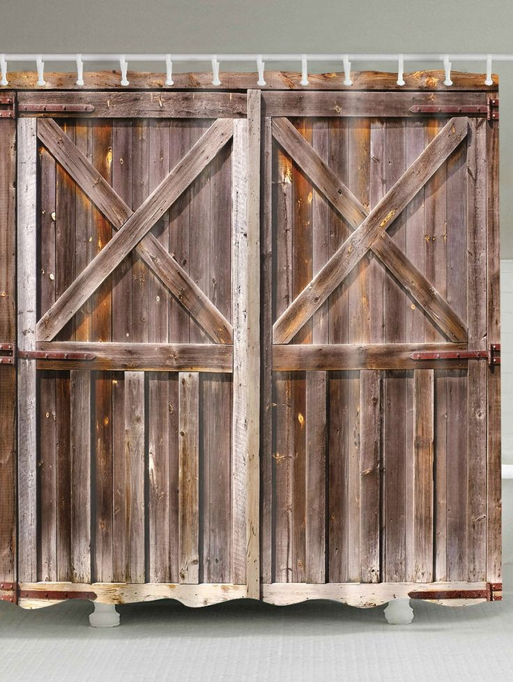 Bath Decor Vintage Woody Door Fabric Shower Curtain - BROWN W71INCH*L79INCH