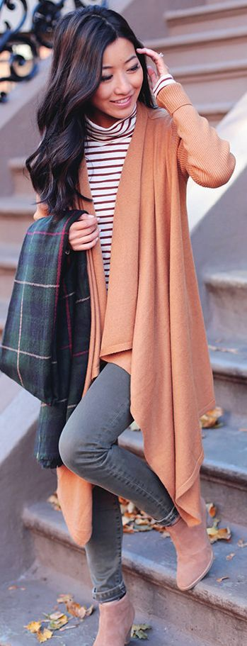 Camel Brown, Stripes And Olive Fall Street Style Inspo by Extra Petite