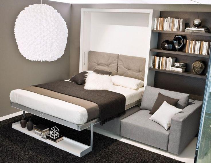 Bett mit Aluminiumrahmen hinter der Rücklehne Sofa Doppelbett - bett im wohnzimmer