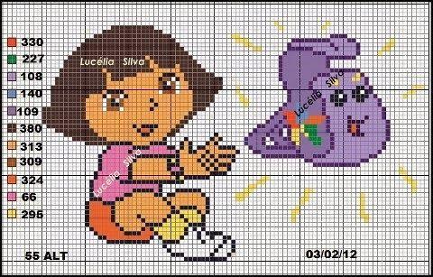 More Dora charts... http://laineartess.blogspot.com/2014/01/dora-aventureira.html