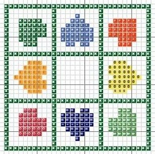 Cross-stitch Rainbow Hearts biscornu ... no color chart available, just use the pattern chart as your color guide.. or choose your own colors...