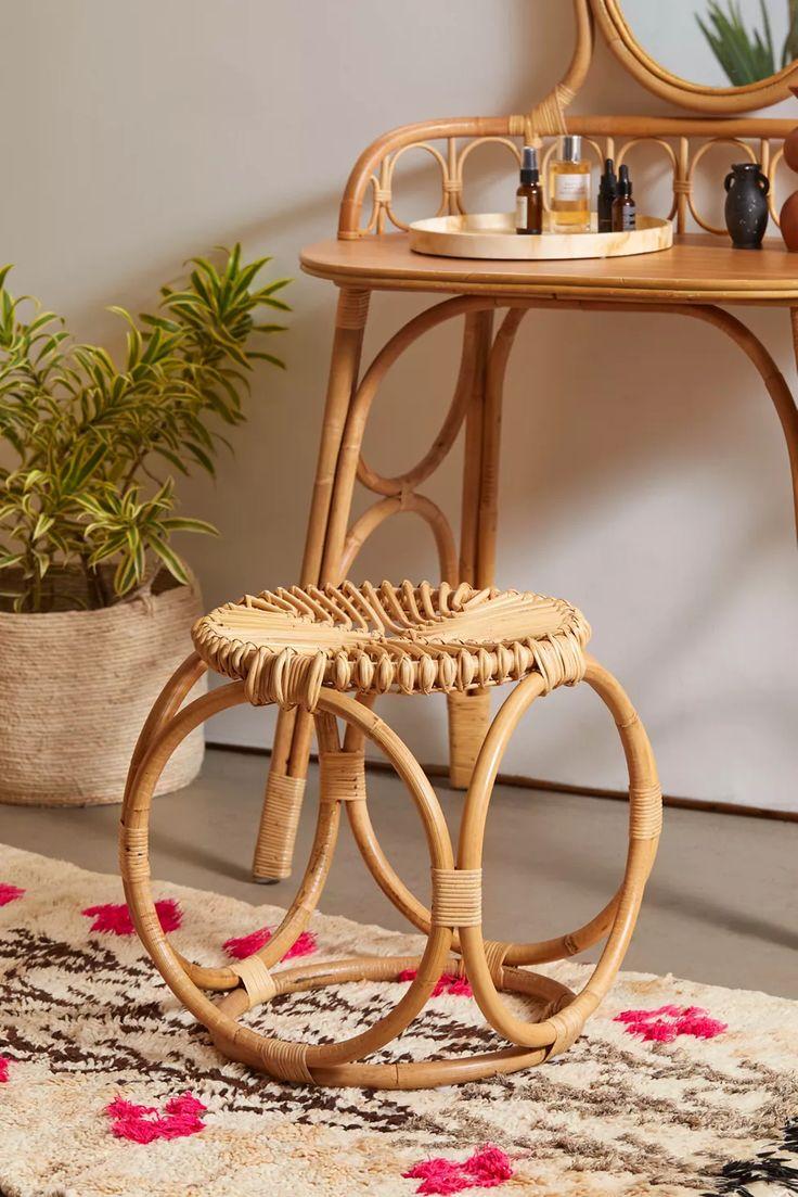 Caroline Rattan Stool | Urban Outfitters Rattan Daybed, Rattan Stool, Large Furniture, Custom Furniture, Modern Furniture, Rattan Furniture, Vanity Stool, Vanity Decor, Look Boho