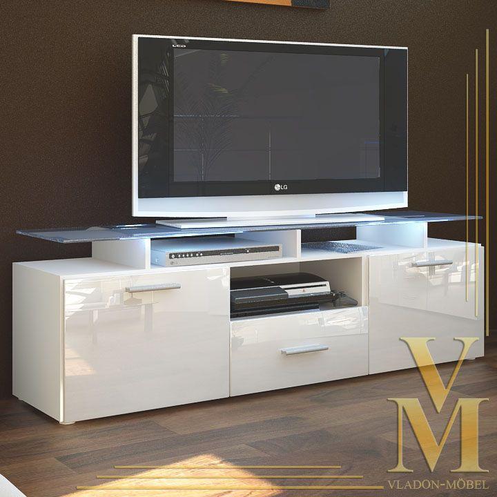 TV Board Lowboard Sideboard Almada in White / White Highgloss | Tv ...