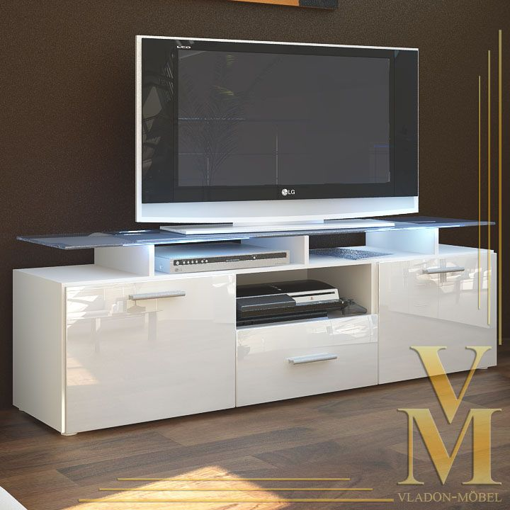 details about tv board lowboard sideboard almada in white white highgloss shelves flats and. Black Bedroom Furniture Sets. Home Design Ideas