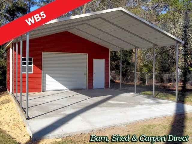 Large workshop with tool storage carport