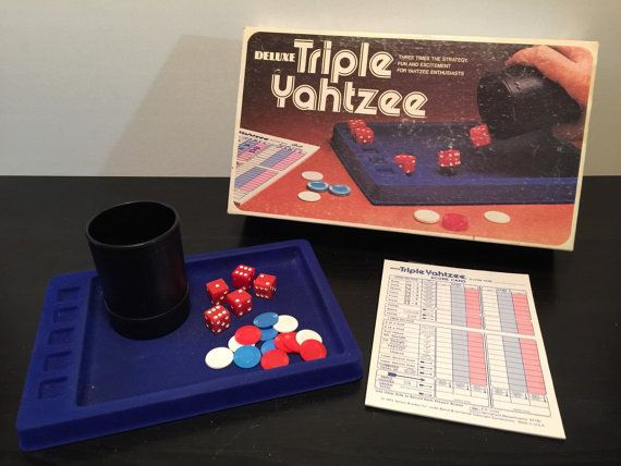 Triple Yahtzee by E.S. Lowe, 1978 - Vintage 1970s Dice Game - Complete, Excellent Condition