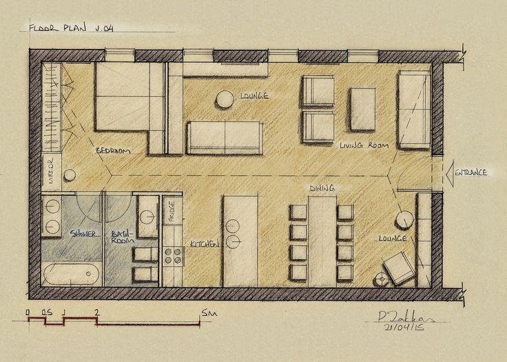 Loft Apartment 75 sqm, Floor Plan, Version 04 - www.pzarch.gr