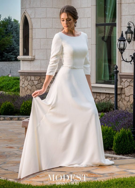 Modest By Mon Cheri Tr11971 Modest Wedding Dress With 3 4 Sleeves Modest Wedding Dresses Wedding Dresses Wedding Dresses Satin