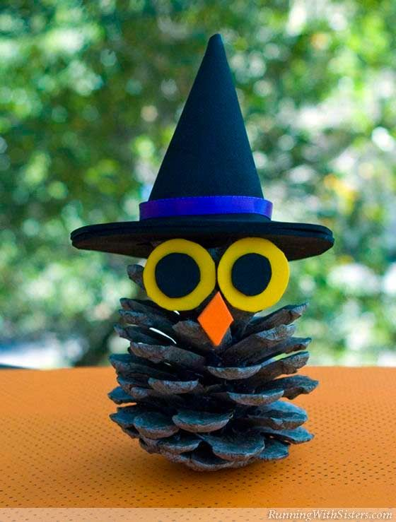 you be having a h owl ing good time this halloween when you make this cute nature craft for kids the witchy pinecone owl is perfect to make to make as a - Halloween Craft Ideas For Adults
