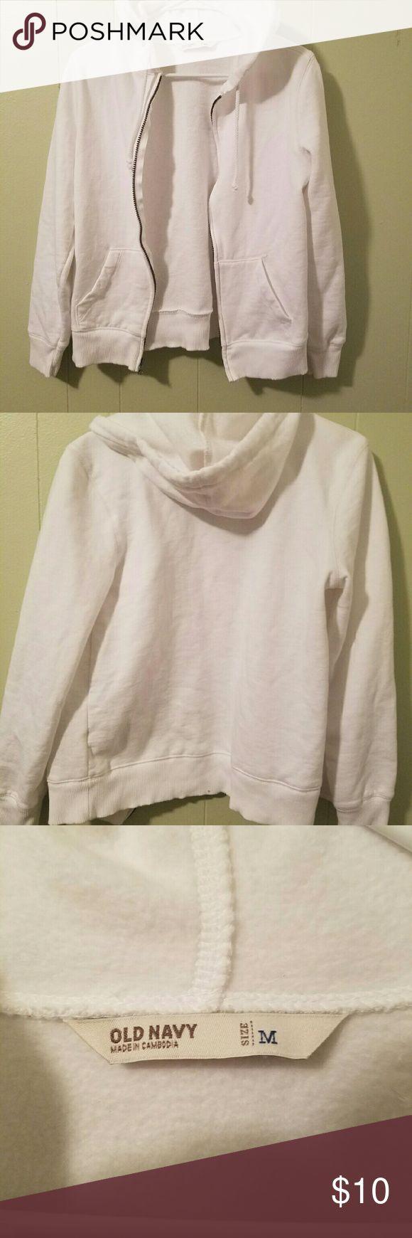 0ld Navy zip up hoodie euc White full zip sweat hoodie Old Navy Jackets & Coats Utility Jackets
