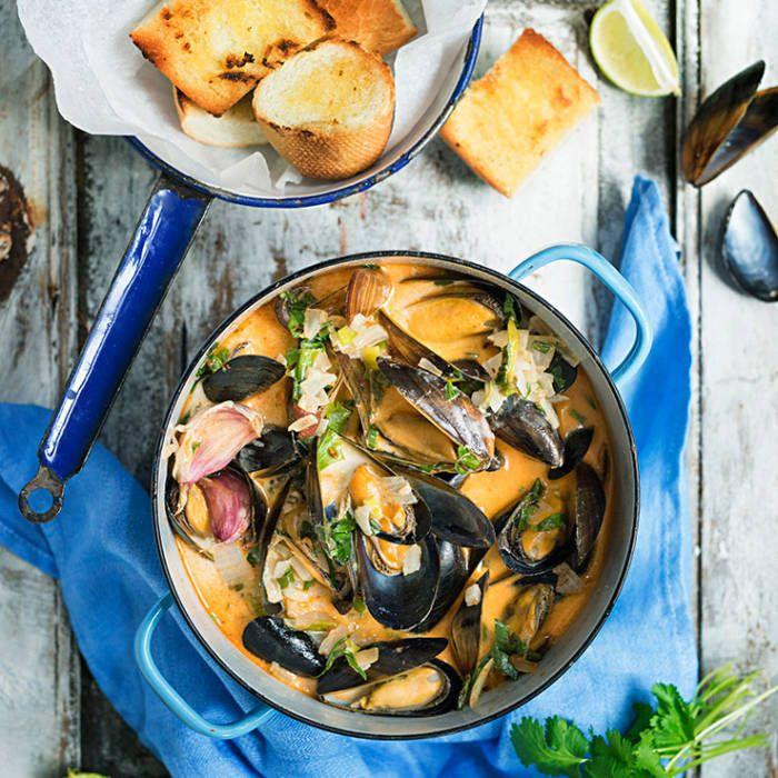 Slow food-musslor med kokosmjölk & chili