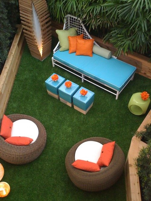 Artificial grass turf outdoor living space.